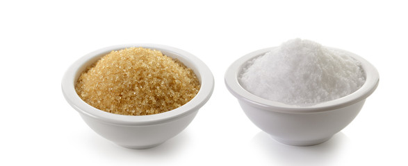 sugar and salt on white background