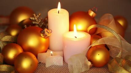 Gold Balls and Burning Candles. Seamless Loop