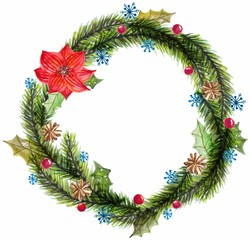 Green watercolor christmas wreath with decorations