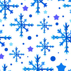 Watercolor beautiful blue snowflakes