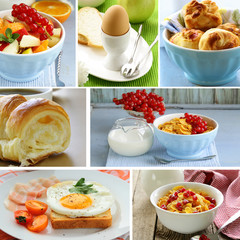 collage of different types of breakfast menu