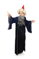 Funny wise wizard isolated on the white