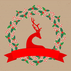 Christmas Wreath Reindeer Holly Candy Canes Banner Brown Paper