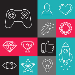 Vector set of line game icons