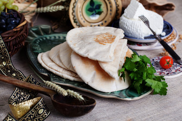 thick pita bread in a still life Israeli style