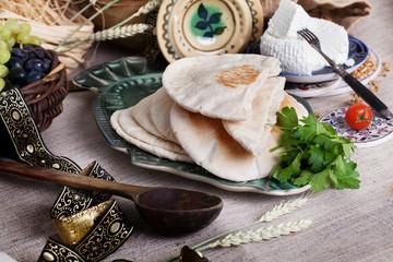thick pita bread in a still life Israeli style
