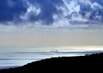 Marine landscape blue colored with ship on the sea