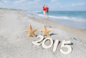 2015 letters with starfish, ocean , beach and seascape
