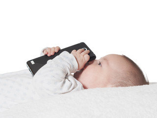 Small baby boy holding smartphone isolated