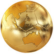Gold soccer with world map. Australia