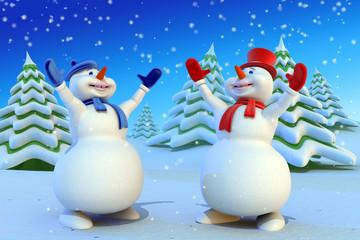 Cartoon snowmans meet in the fairy forest