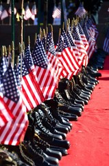 American Flags and Army Boots