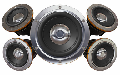 Sound system. Five loudspeakers