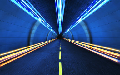 Light strips in the tunnel.