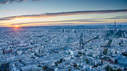 Aerial view of historic Paris at sunset