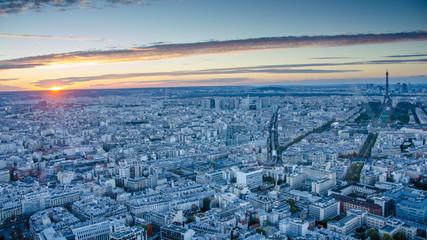 Aerial view of historic Paris at sunset