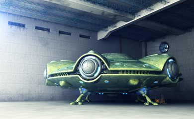Area 51.UFO is in a hangar