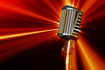 Retro style microphone with shine