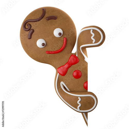 Fotobehang Koekjes 3d character, cheerful gingerbread, Christmas funny decoration