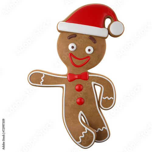 3d character, cheerful gingerbread, Christmas funny decoration - 72997309