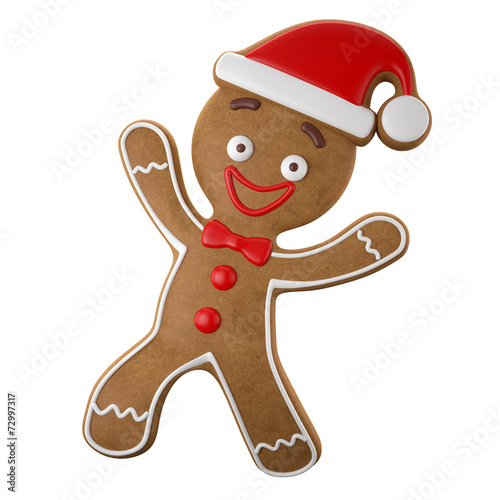 Papiers peints Biscuit 3d character, cheerful gingerbread, Christmas funny decoration