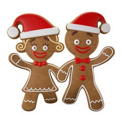 3d character, cheerful gingerbread, Christmas funny decoration,