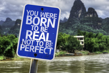 You Were Born To Be Real Not To Be Perfect sign with a forest