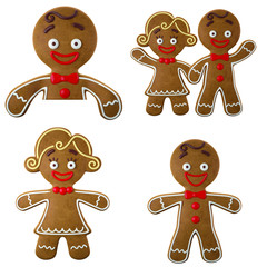 Set of 3d cheerful gingerbread, Christmas funny decoration,