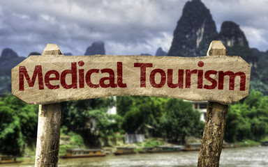 Medical Tourism sign with a forest background