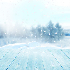 christmas winter background with wooden planks