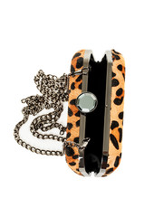 Leopard purse isolated on white background vertical