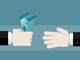 Money vector illustration . Hand to hand money transfer