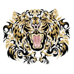 Tattoo vector sketch of a leopard's face