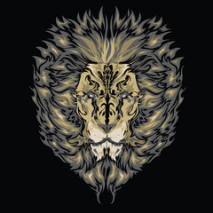 Tattoo vector sketch of a lion's face black background