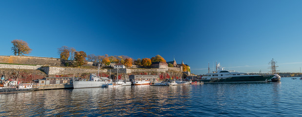Panoramic view at Akershus Fortress at fall
