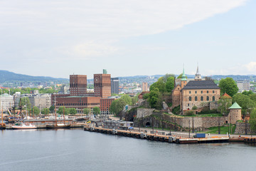 View of Oslo Norway Radhuset and Akershus castle from the sea