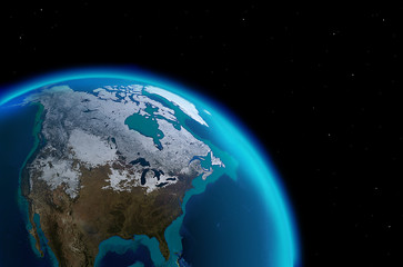 North America continent from outer space