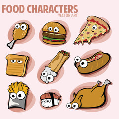Funny Various Cartoon Fast Food Characters