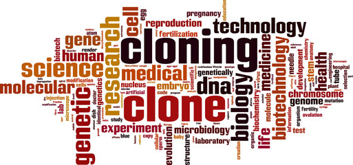 Cloning word cloud concept. Vector illustration