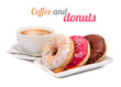 Leinwanddruck Bild - Three donut and cup of coffee isolated