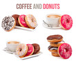 set of four compositions of coffee and donuts isolated - 72999352