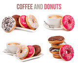 Fototapety set of four compositions of coffee and donuts isolated