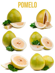 set of six compositions pomelo isolated