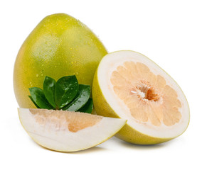 pomelo and slice with leaves isolated