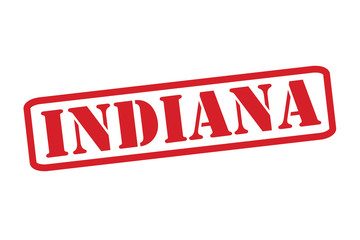 INDIANA Red Rubber Stamp vector over a white background.