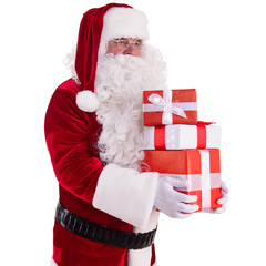 happy Santa Claus with giftboxes