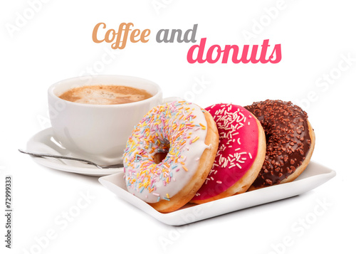 Three donut and cup of coffee isolated