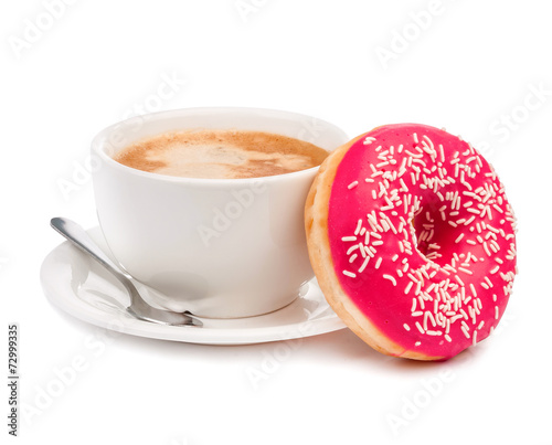 donut and coffee isolated