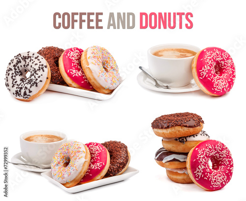 Fotobehang Buffet, Bar set of four compositions of coffee and donuts isolated