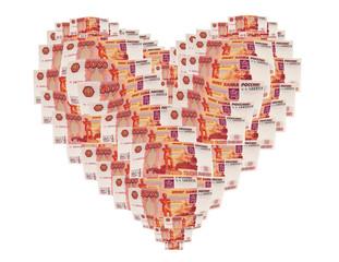 Сердце из денежных купюр
